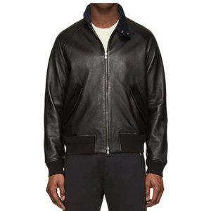 Acne Studios Ashton Leather Bomber Jacket Black 46